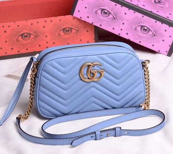 Gucci GG Marmont Small Shoulder Bag 447632 SkyBlue