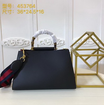 Gucci Nymphaea Leather Top Handle Bag 453764 Black