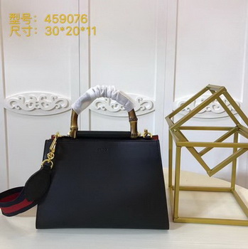 Gucci Nymphaea Leather Top Handle Bag 459076 Black