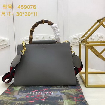 Gucci Nymphaea Leather Top Handle Bag 459076 Grey