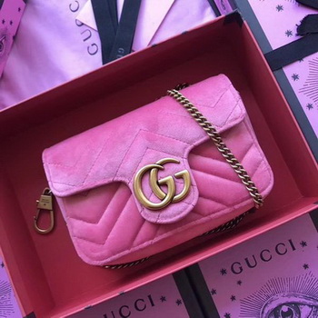 Gucci GG Marmont Velvet Super Mini Bag 476433 Pink