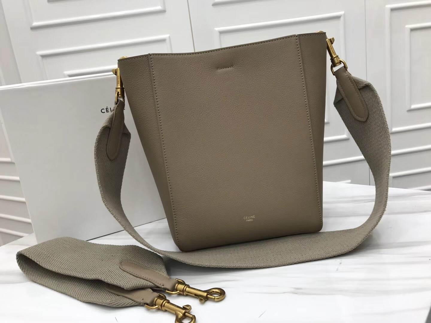 Celine Calfskin Leather Shoulder Bag 5530 grey