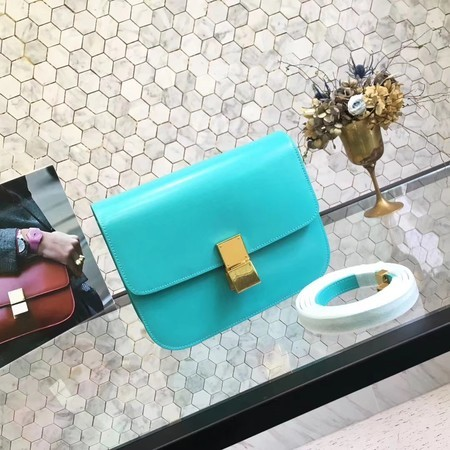 Celine Classic Box Flap Bag Original Calfskin Leather 5698 Skyblue