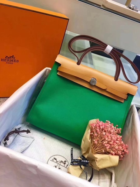 Hermes Herbag 31CM Original Canvas Leather & Calfskin 45987 Green&Apricot