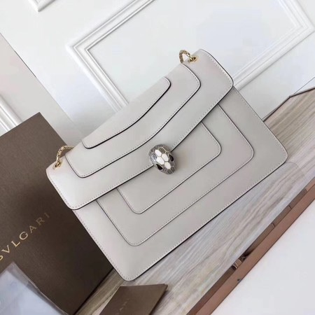 BVLGARI Serpenti Forever Original Calfskin Leather Shoulder Bag 3780 Offwhite