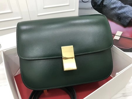 Celine Classic Box Flap Bag Original Calfskin Leather 3378 Atrovirens