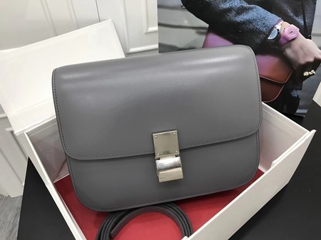 Celine Classic Box Flap Bag Original Calfskin Leather 3378 Grey