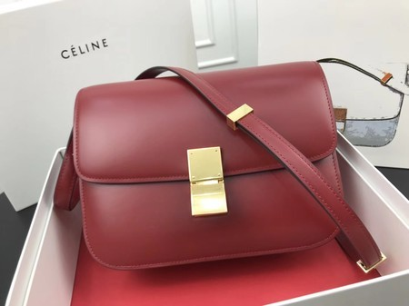 Celine Classic Box Flap Bag Original Calfskin Leather 3378 Red