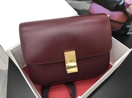 Celine Classic Box Flap Bag Original Calfskin Leather 3378 Wine