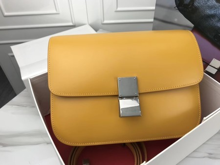 Celine Classic Box Flap Bag Original Calfskin Leather 3378 Yellow