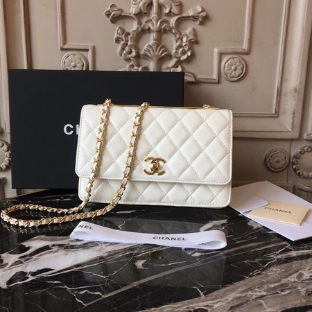 Chanel WOC Original Sheepskin Leather Shoulder Bag D33814 Offwhite