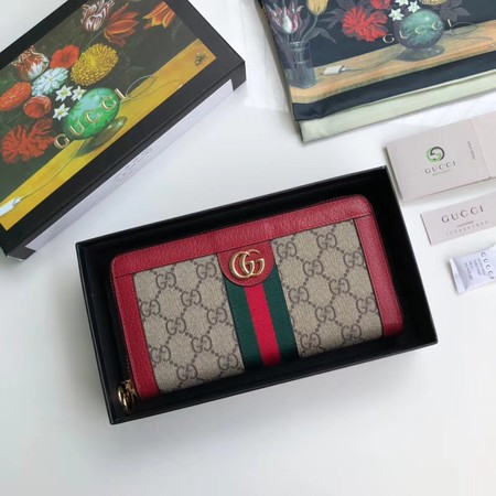 Gucci Calfskin Leather Wallet 523154 red
