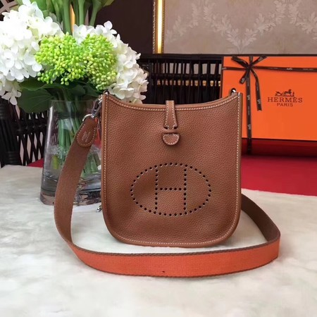 Hermes Evelyne mini 17cm Messenger Bag Original Calf Leather H1187 Light tan