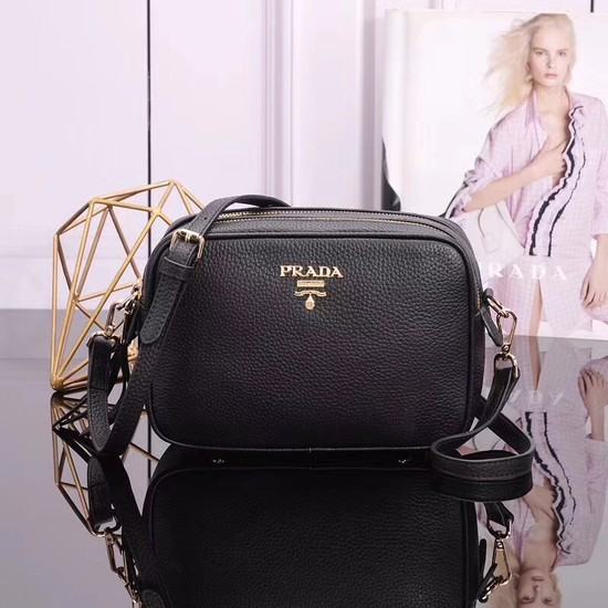 Prada Calfskin Leather Shoulder Bag 1BH082 black