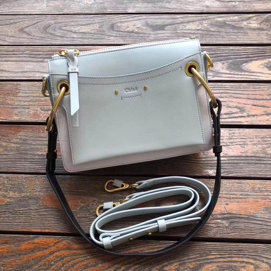 CHLOE Roy leather and suede small shoulder bag 20657  Light blue