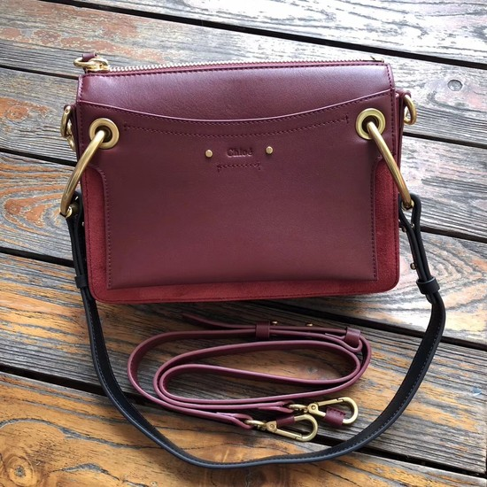 CHLOE Roy leather and suede small shoulder bag 20657 Plum purple