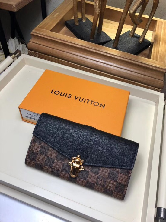 Louis Vuitton Damier Canvas CLAPTON WALLET N64448 black