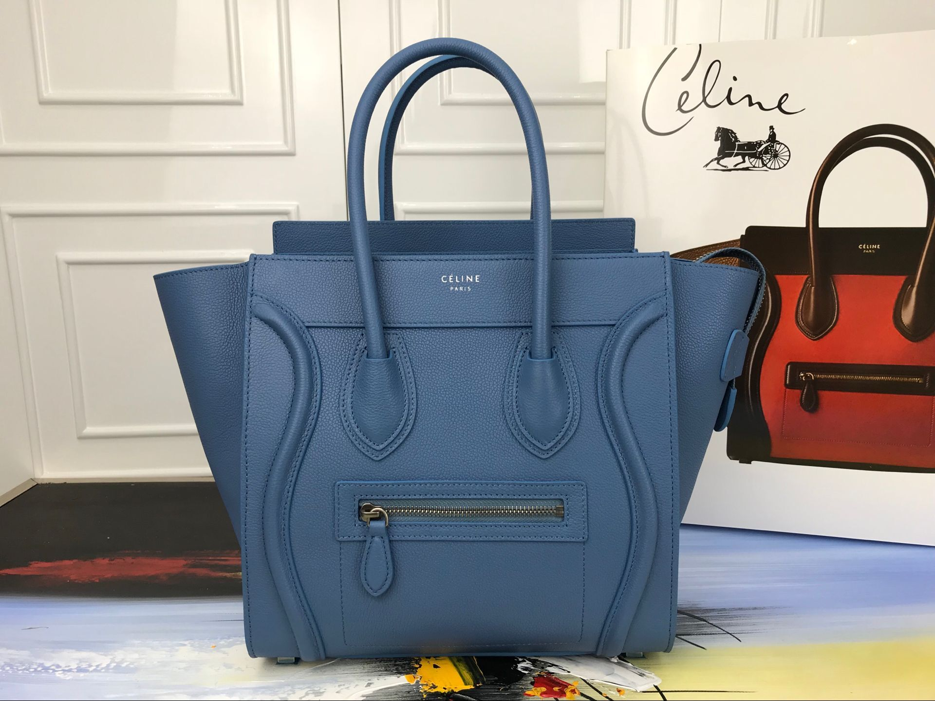 Celine Luggage Micro Tote Bag Original Leather CLY33081M blue