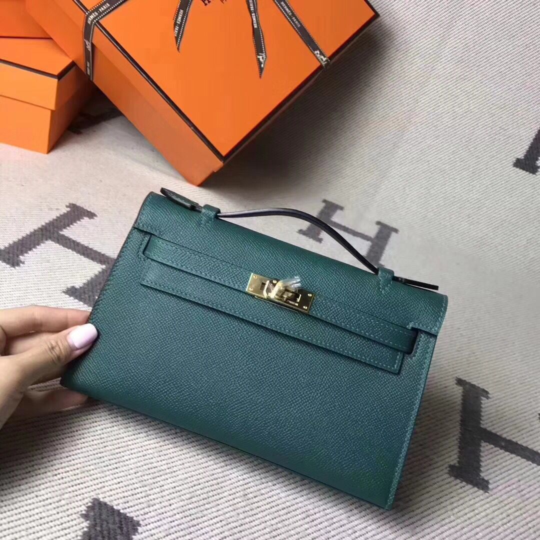 Hermes Kelly 22CM Tote Bag Original Epsom Leather KL22 Dark Green