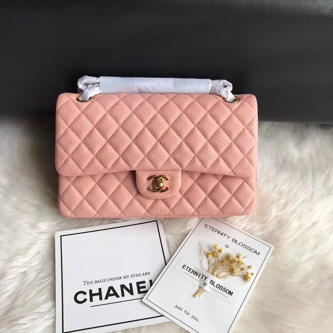 Chanel Flap Shoulder Bag Original Deer leather A1112 pink gold chain
