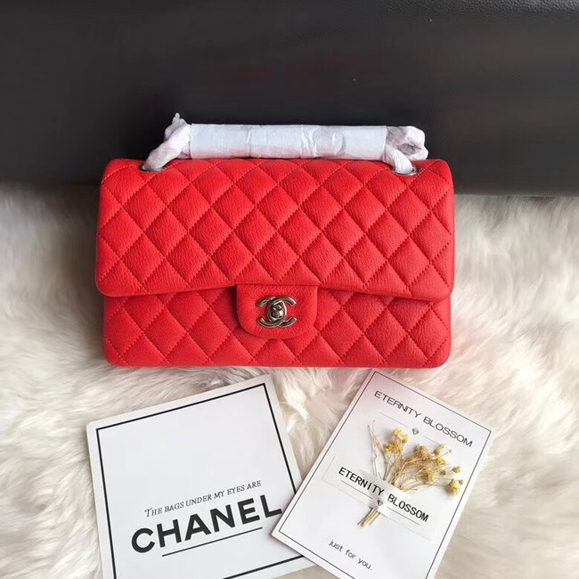 Chanel Flap Shoulder Bag Original Deer leather A1112 red silver chain