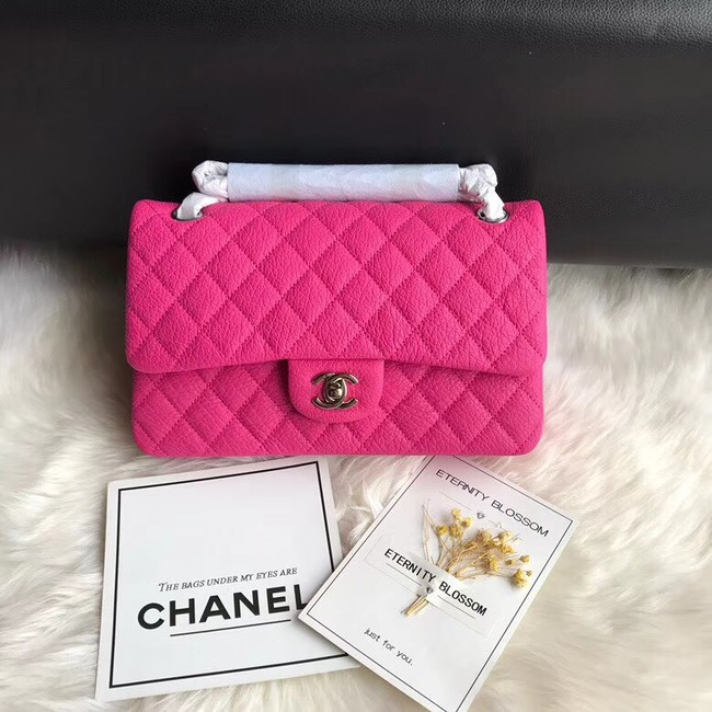 Chanel Flap Shoulder Bag Original Deer leather A1112 rose silver chain