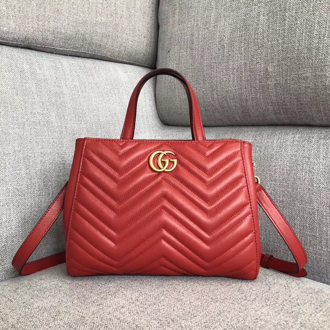 Gucci GG Marmont small top handle bag 448054 red