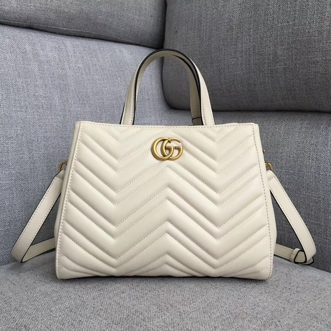 Gucci GG Marmont small top handle bag 448054 white