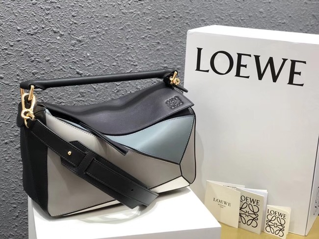 Loewe Puzzle Bag Original Leather B9124 blue white black