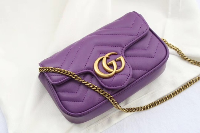 Gucci GG Marmont matelasse leather super mini bag 476433 purple