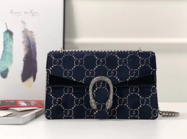 Gucci Dionysus GG velvet small shoulder bag 400249 blue