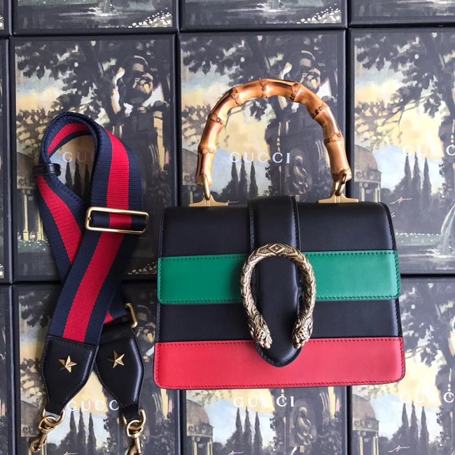 Gucci Dionysus small top handle bag 523367 black&red&green