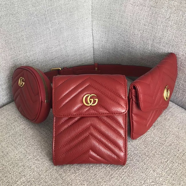Gucci GG Marmont matelasse belt bag 524597 red