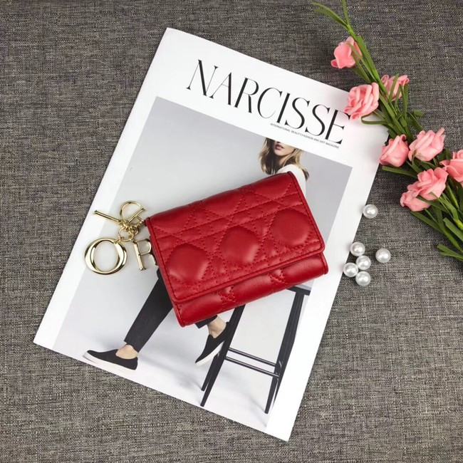 LADY DIOR LOTUS WALLET CANNAGE LAMBSKIN S0200 red