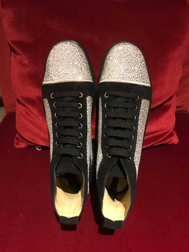 CHRISTIAN LOUBOUTIN Pik Boat glitter leather sneakers CL1044