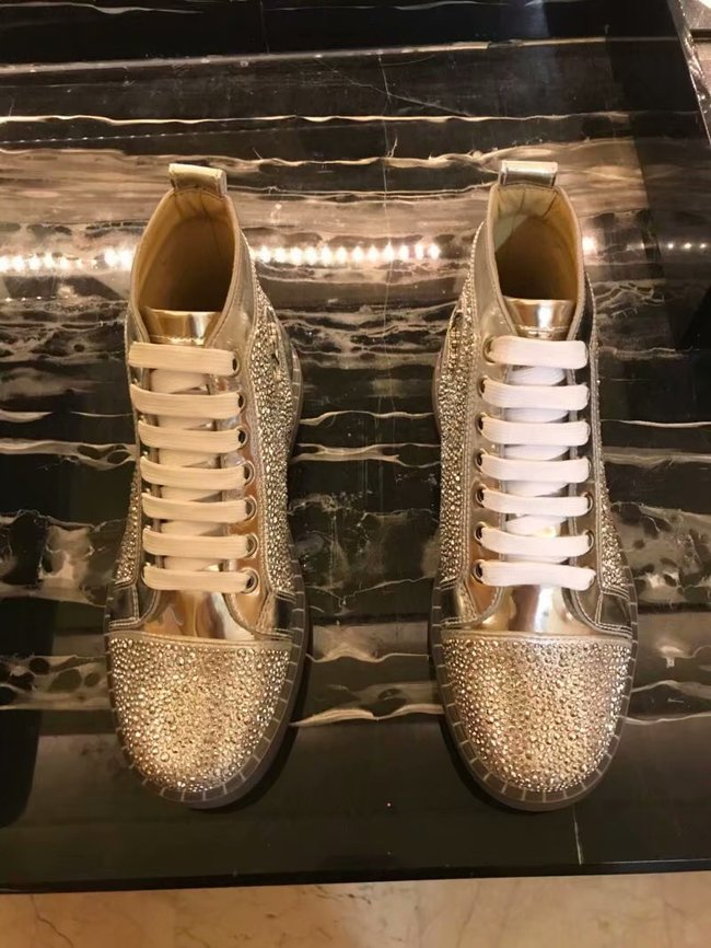 CHRISTIAN LOUBOUTIN Pik Boat glitter leather sneakers CL1051