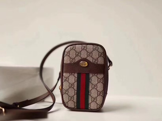 Gucci GG canvas mini shoulder bag 546595 brown