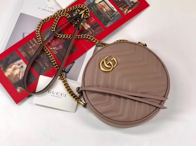 Gucci GG Marmont mini round shoulder bag 550154 Pink
