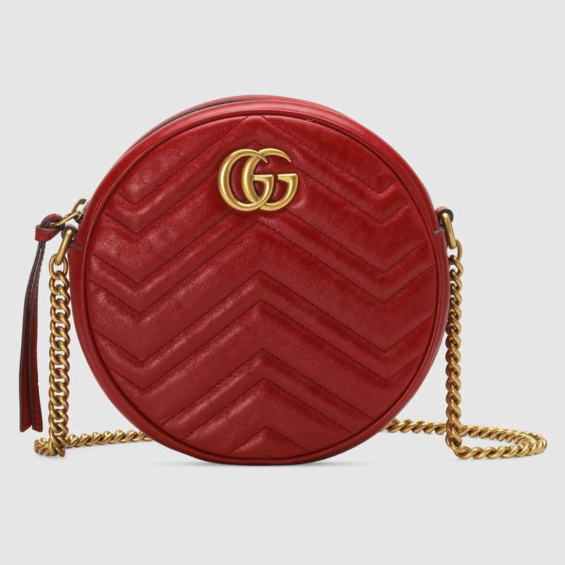 Gucci GG Marmont mini round shoulder bag 550154 red