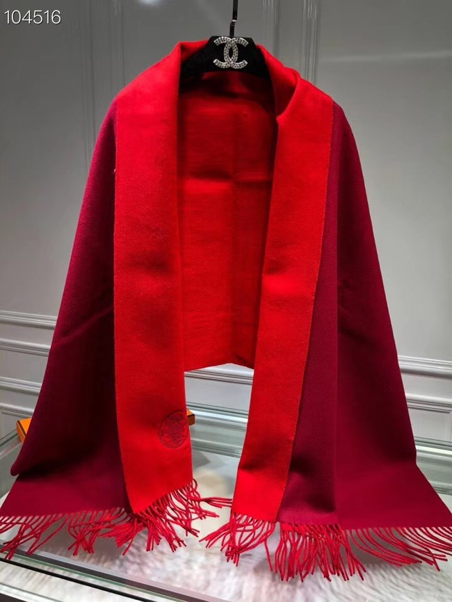 Hermes lambswool & cashmere Shawl 71151 red