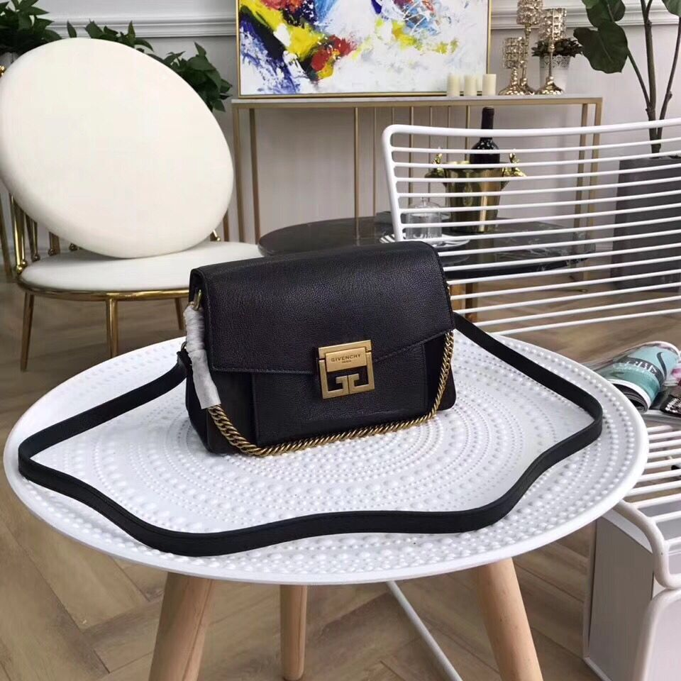 GIVENCHY GV3 leather and suede shoulder bag 9333 black