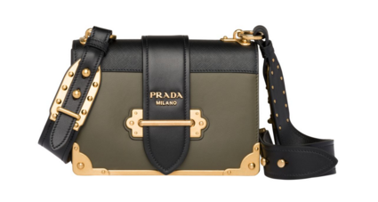 Prada Cahier leather shoulder bag 1BD045 Khaki&black
