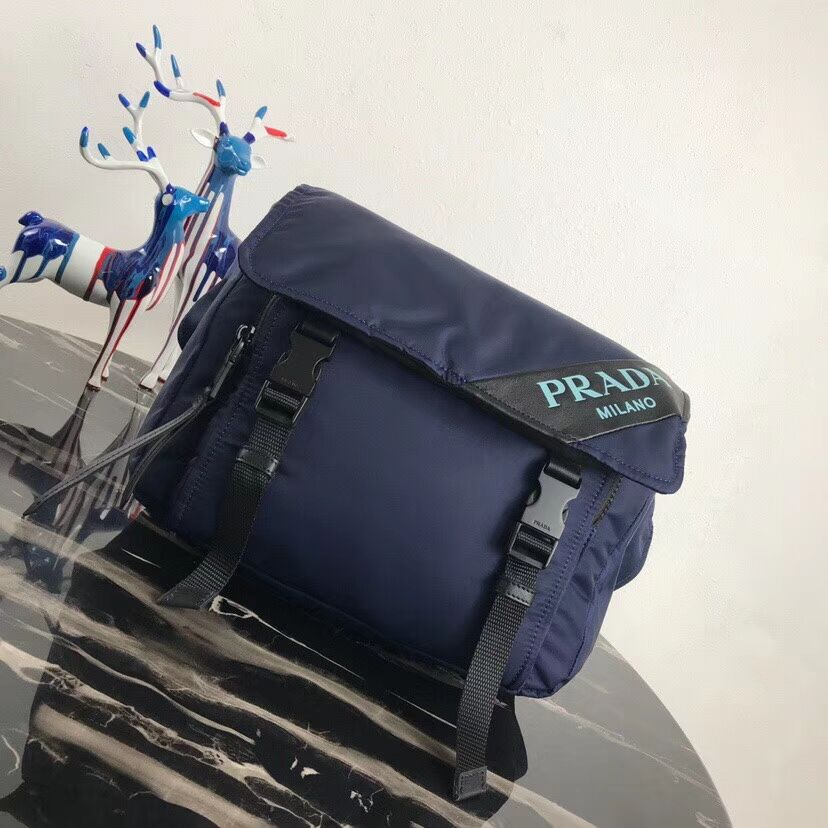 Prada Nylon shoulder bag 1BL015 dark blue