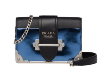 Prada Cahier calf leather bag 1BH018 blue