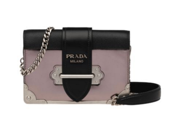 Prada Cahier calf leather bag 1BH018 pink