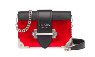 Prada Cahier calf leather bag 1BH018 red