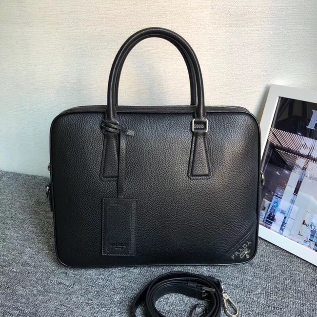 Prada Leather Briefcase 2VE368 black