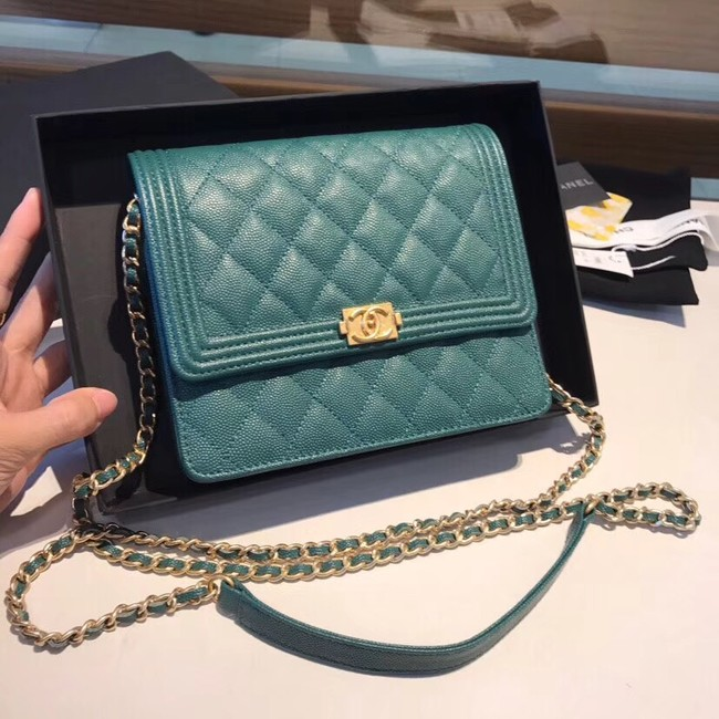 Boy chanel clutch with chain A84433  Blackish green