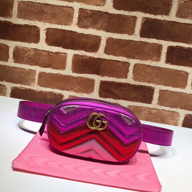 Gucci GG Marmont matelasse leather belt bag 476434 Fuchsia&red& pink