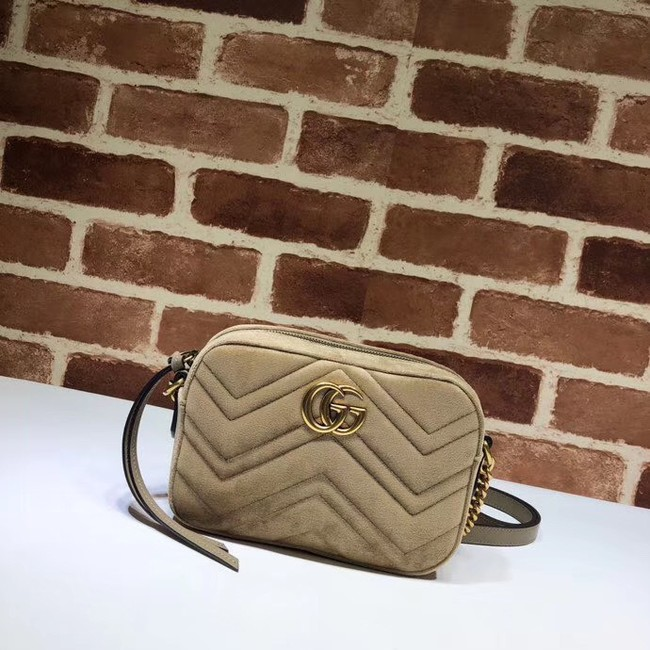 Gucci GG Marmont velvet small Shoulder Bag 448065 Khaki